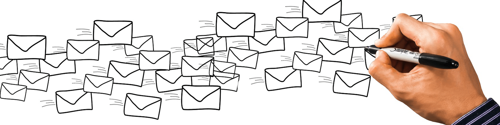 Drawing of many envelopes being drawn by a hand